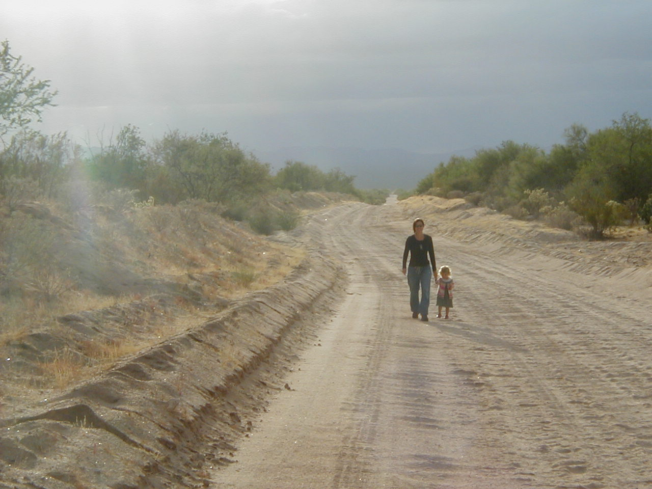 Remote desert road in Mexico.